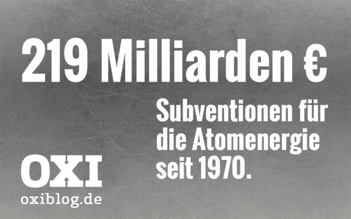 219 Milliarden Euro Subventionen für die Atomenergie seit 1970.