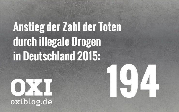 Anstieg der Zahl der Toten durch illegale Drogen in Deutschland 2015: 194.