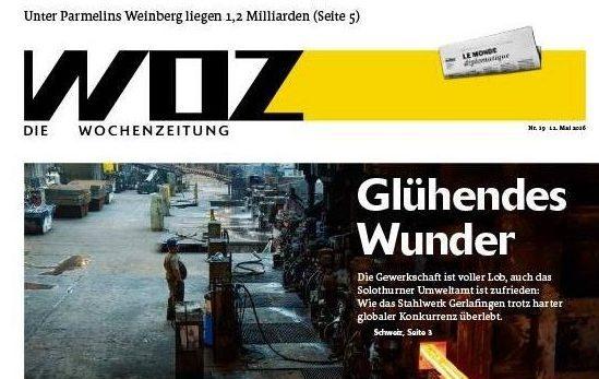 Die Titelseite der Wochenzeitung WOZ vom 11. Mai 2016