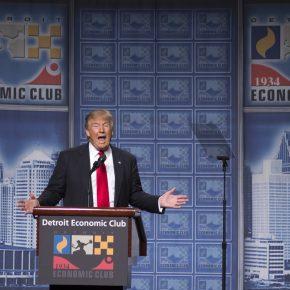 Donald Trump, republikanischer Präsidentschaftskandidat, bei seiner Rede zur Wirtschaftspolitik.