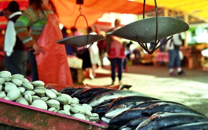 Fischmarktstand. Im Hintergrund eine Waage.