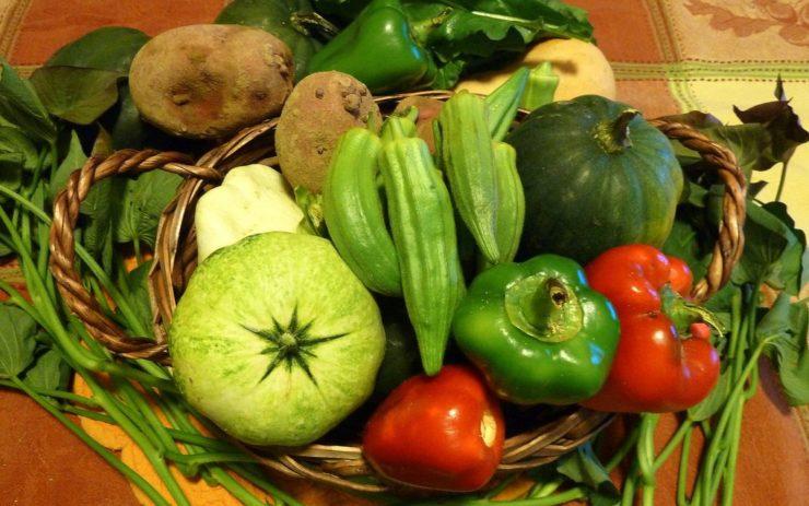 Ein Korb mit frischem Gemüse aus lokalem Anbau.