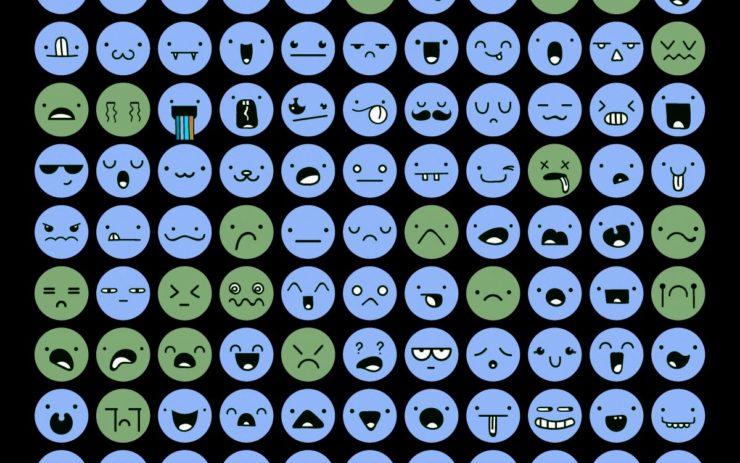 99 verschiedenfarbige Emoticons