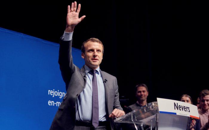 Der Kandidat Emmanuel Macron bei einer Wahlkampfveranstaltung