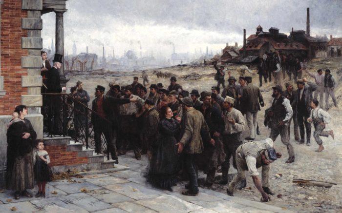 Ein Gemälde von einem Streik Ende des 19. Jahrhunderts