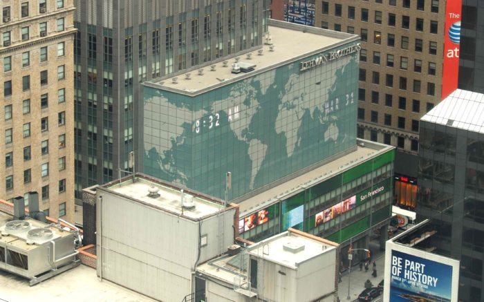 Eine Luftaufnahme der New York Niederlassung von Lehman Brithers