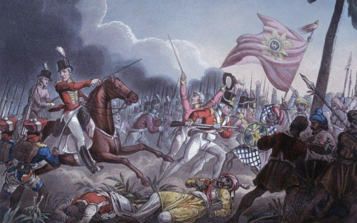 Die Briten kämpfen gegen das Marathenreich in der Schlacht von Assaye 1802 um indisches Land