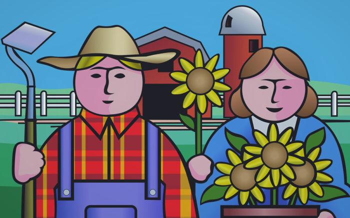Noch keine Opfer von Land Grabbing: Zwei gut gelaunte Farmer:innen stehen vor ihrer Scheune und halten eine Harke und Sonnenblumen in der Hand.