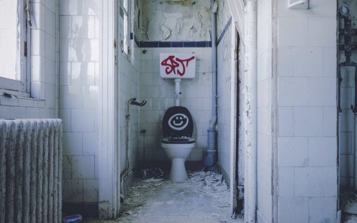 Eine baufällige Toilette. Auf dem Klodeckel ist ein Smiley gesprüht.