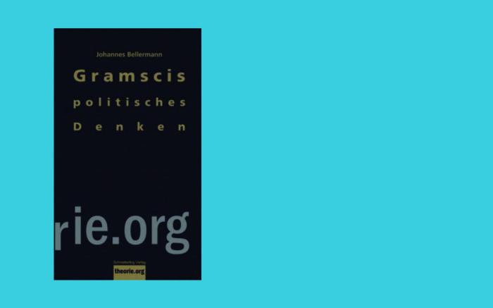 Vor einem türkisen Hintergrund ist das dunkle Cover des Einführungsband zu Gramsci abgebildet